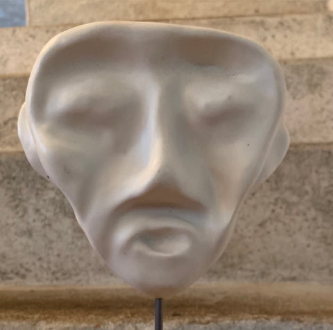 Pottery Sculpture Mask on Plinth