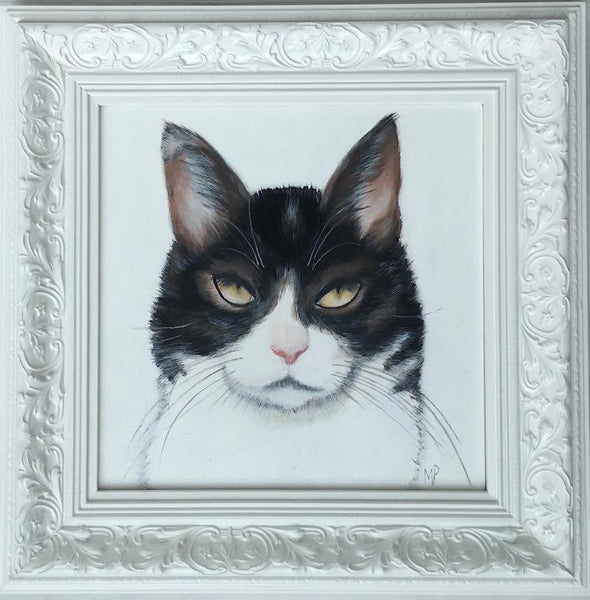 black and white cat painted portrait by margaret petchell