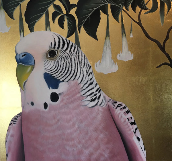 budgie  original painting with gold leaf  and datura, margaret petchell artist