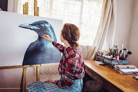 Bird portrait being painted by Margaret Petchell  in artist's studio