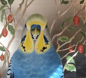 budgie painting, with silver leaf and tamarillos
