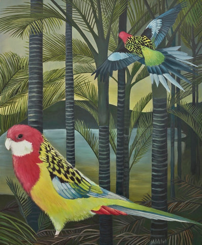 Edith and Mauve Rosellas Art Print