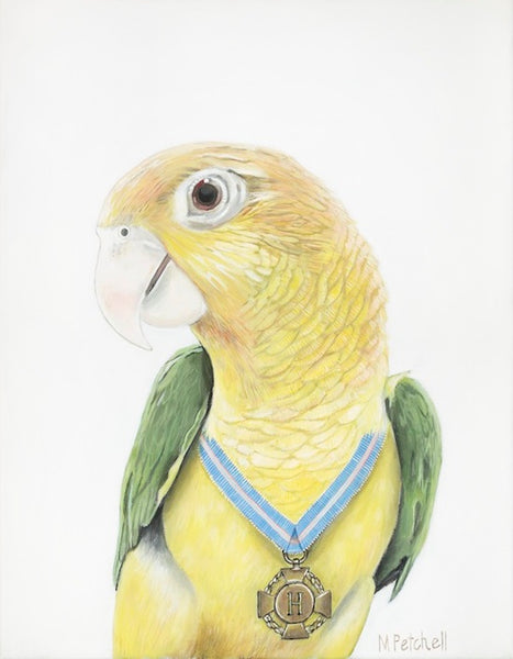 Parrot art print , yellow bird , bird with medal around its neck