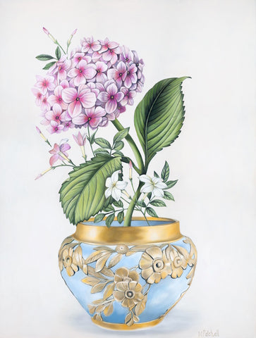 Hydrangea in Antique Bowl Art Print