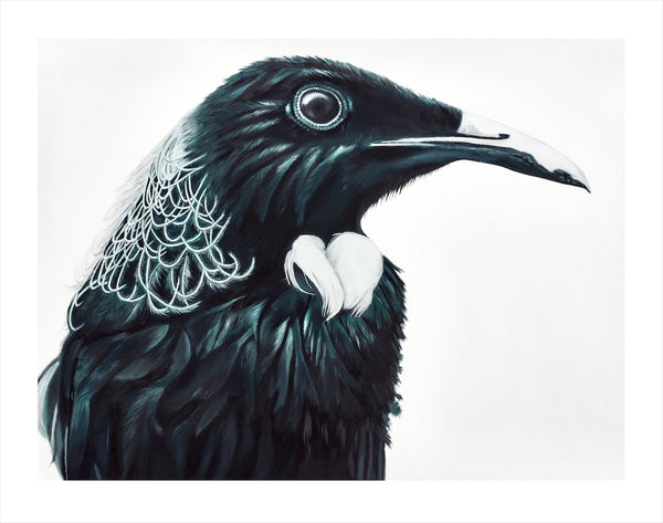 Tui art print, dark and moody. NZ native bird, iconic.