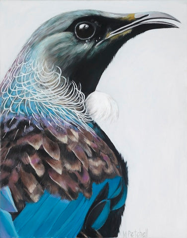New Zealand Tui art print, native birds of NZ