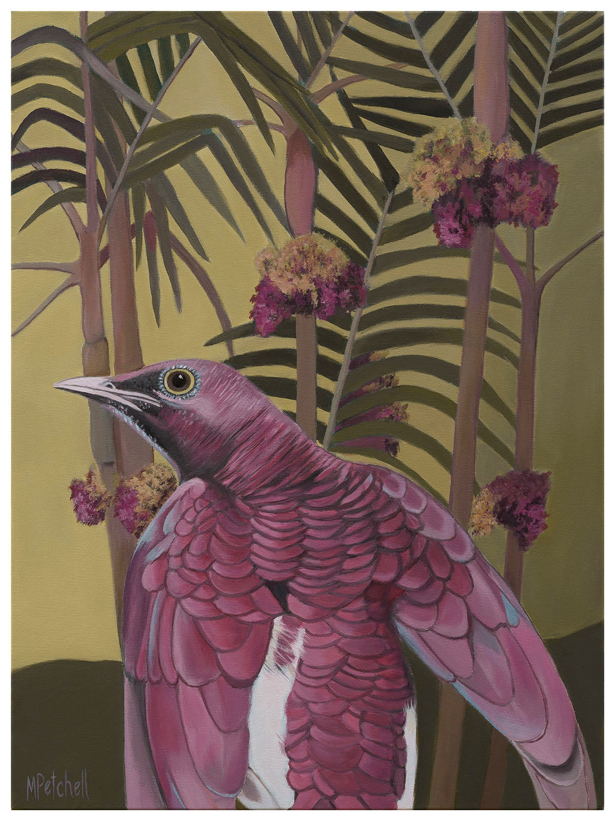 """Juniper"" Pink Parrot and Palms"