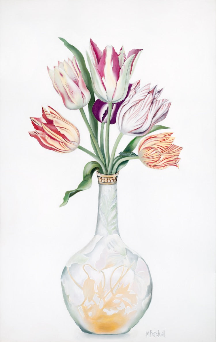Tulips in Galle vase flower painting, original art by Margaret Petchell