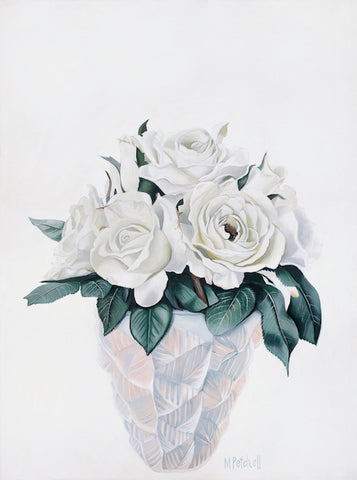 white roses in lalique vase on white background, art print by margaret petchell