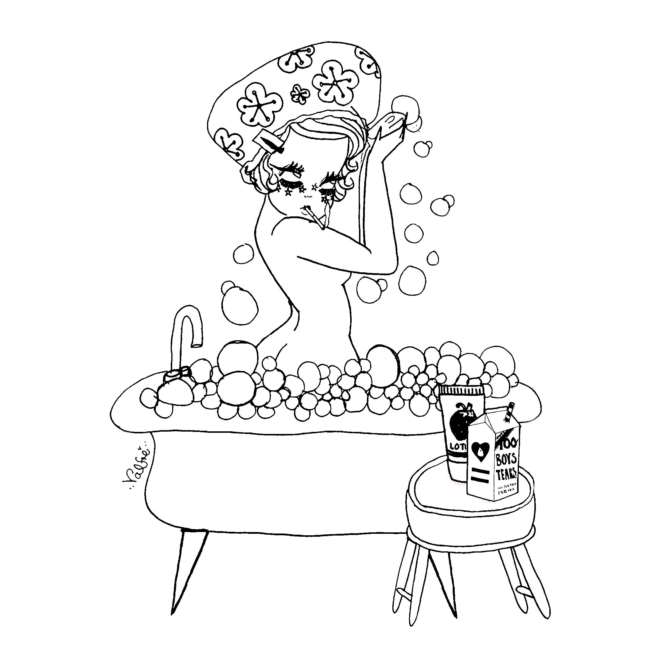 Coloring pages furniture - Download The Bubble Bath Coloring Page