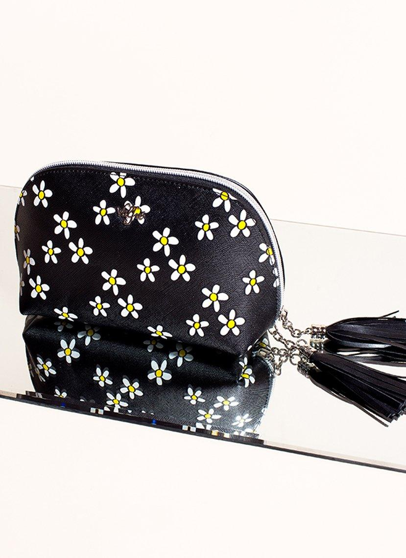 Daisy Print Cosmetic Bag - Vegan Leather Pouch