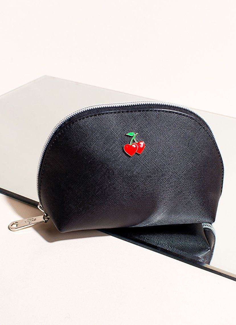 Cherry Makeup Bag - Black Vegan Leather Pouch