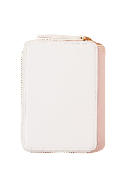 white vegan leather wallet