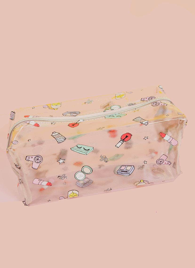 Dolled Up Cosmetic Bag (Clear)
