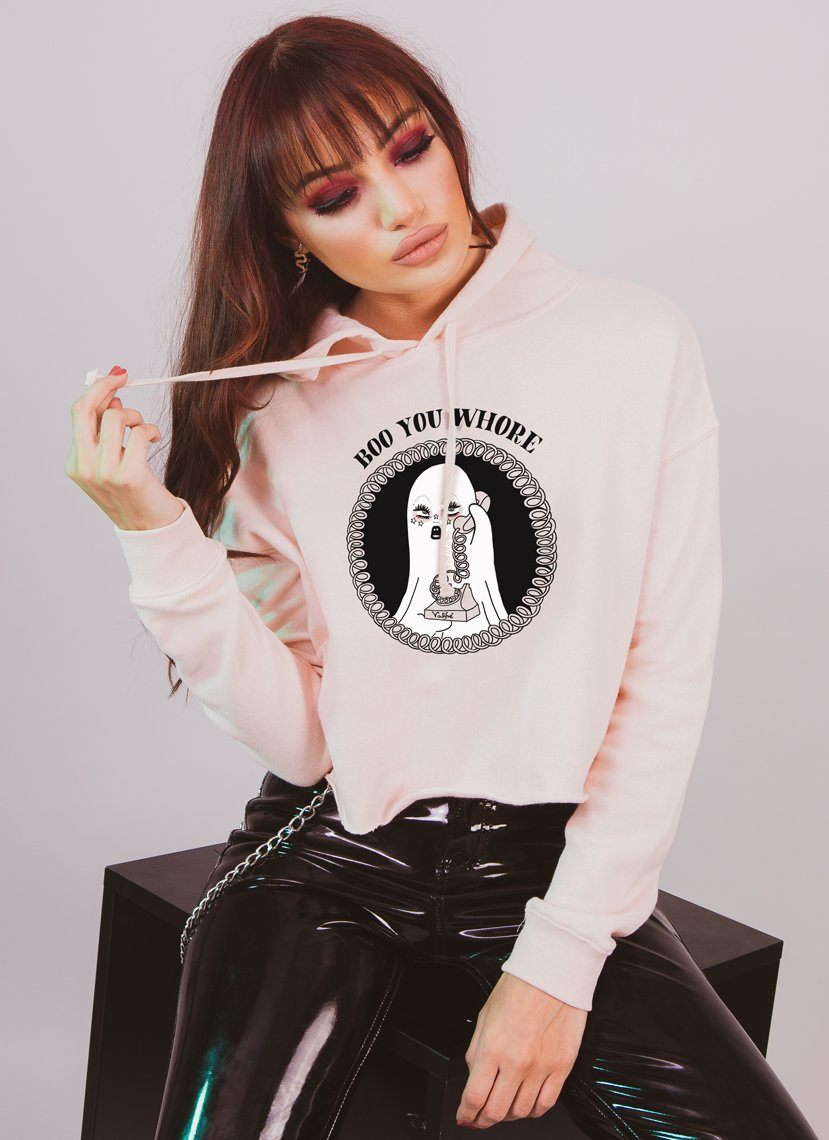 Boo You Whore Cropped Hoodie