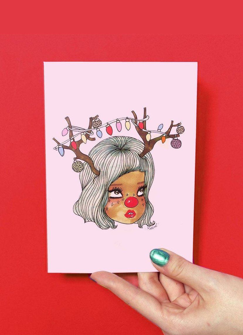 Reindeer Greeting Card - Artsy Christmas Cards for Girls