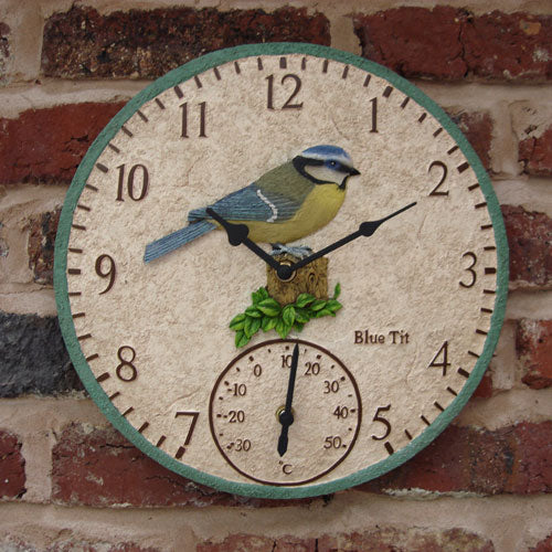 Blue Tit Outdoor Clock and Thermometer