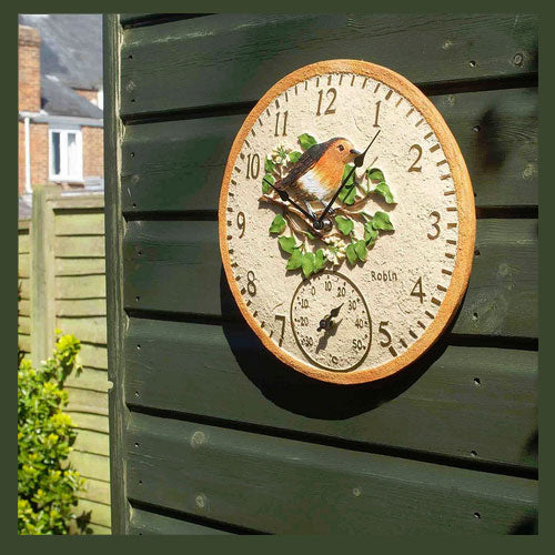 Outdoor Robin Wall Clock and Thermometer