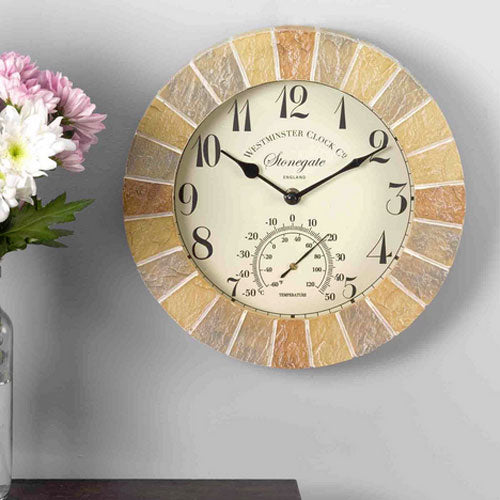 Sandstone Wall Clock and Thermometer