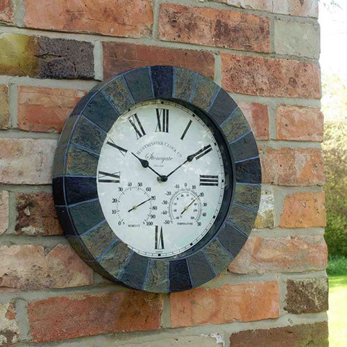 Slate Wall Clock And Themometer Plus Hygrometer