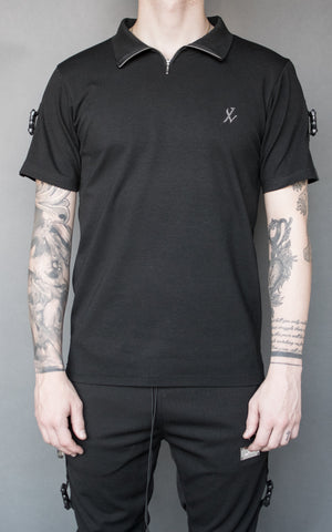 INKLAW STRAPPED T-SHIRT - BLACK