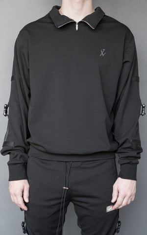 INKLAW STRAPPED HALF-ZIP SWEATER - BLACK