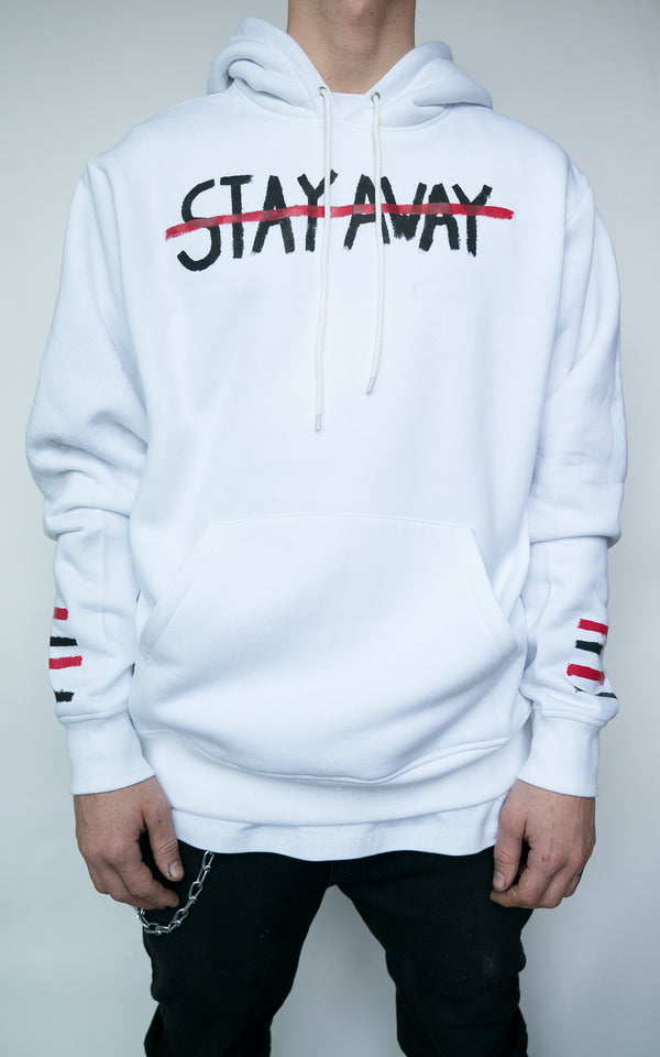 "LIMITED ""STAY AWAY"" HOODIE - WHITE"