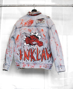 1 OF 1 VINTAGE DENIM TRUCKER JACKET - RED DRAGON