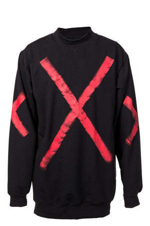 STATEMENT SWEATER - BLACK W/ RED PAINT