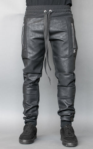 INKLAW LEATHER PATCH PANTS - BLACK