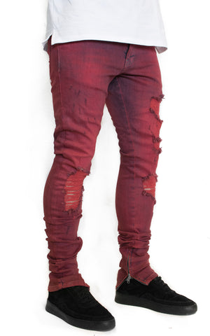 DESTROYED DENIM - MAROON DYED