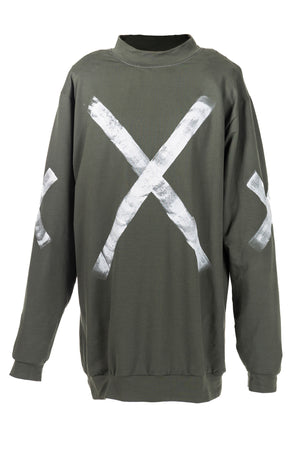 STATEMENT SWEATER - ARMY W/ WHITE PAINT