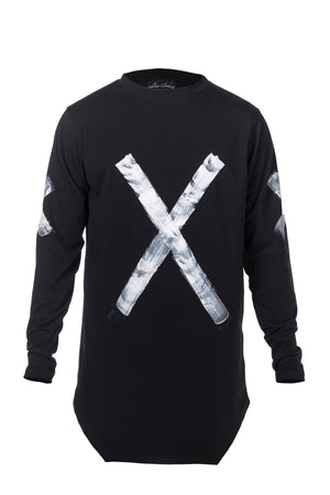 STATEMENT LONG SLEEVE - BLACK W/ WHITE PAINT