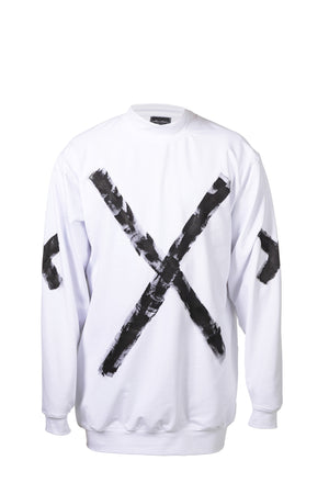 STATEMENT SWEATER - WHITE W/ BLACK PAINT
