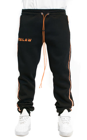REFLECT STRIPED SWEATPANTS - BLACK