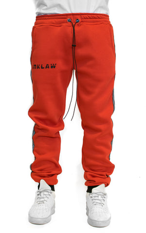 REFLECT STRIPED SWEATPANTS - RED