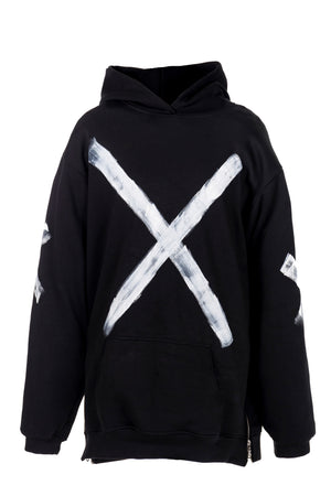 STATEMENT HOODIE - BLACK W/ WHITE PAINT