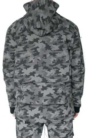 REFLECTIVE DIGITAL CAMO PARKA - GREY