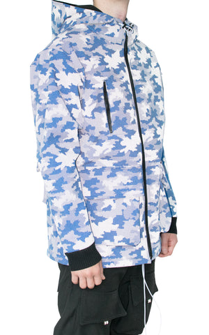 REFLECTIVE DIGITAL CAMO PARKA - BLUE