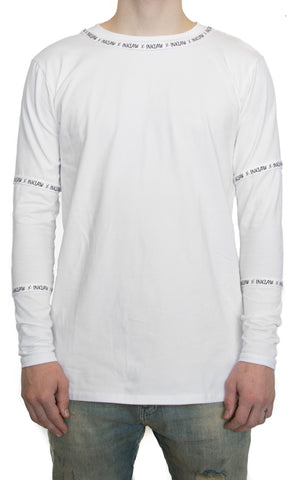 OPTICAL WHITE INKLAW APPLIQUÉ LONG SLEEVE - WHITE