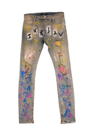 1 OF 5 HAND DRAWN PAINTERS DENIM - DIRTY INDIGO