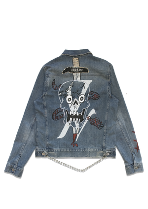 1 of 2 INKED DENIM TRUCKER JACKET