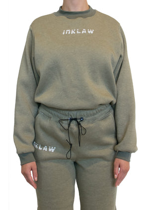INKLAW CROPPED SWEATSHIRT - ARMY GREEN