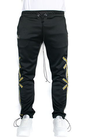 X STRIPE TRACK PANTS - BLACK