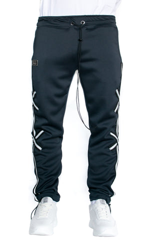 X STRIPE TRACK PANTS - NAVY BLUE