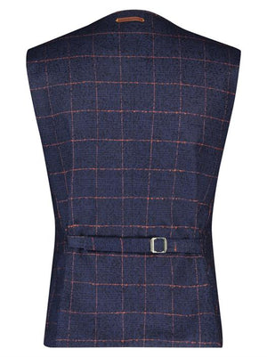 Chaleco Navy Red Window Pane
