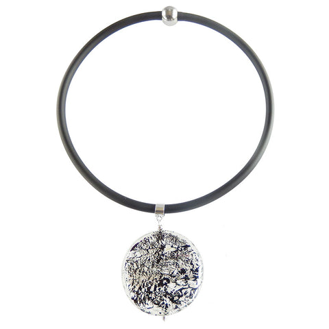 SPARKLE XL BLACK SILVER modern art to wear murano glass statement necklace with 925 silver-leaf on rubber tubino cord, handmade in Italy