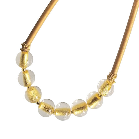 SPARKLE crystal gold bead murano glass necklace with magnetic clasp