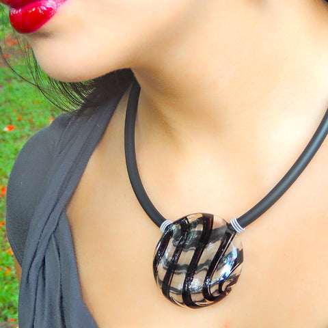 UNO modern art to wear blown murano glass statement necklaces on rubber tubino cord, handmade in Italy