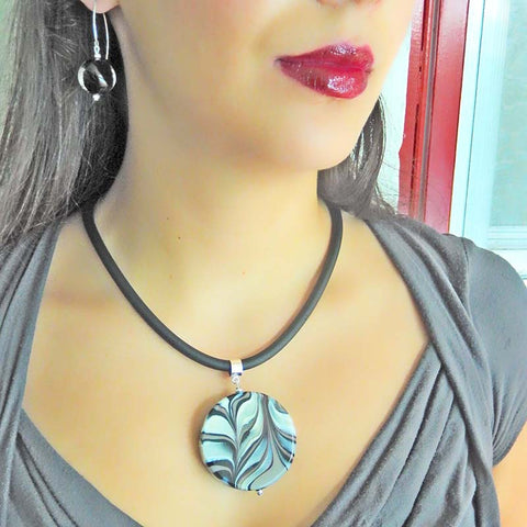 MARMO XL BLACK modern art to wear marble murano glass statement necklace on rubber tubino cord, handmade in Italy